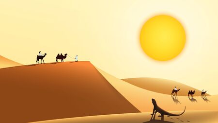 Desert landscape with a caravan of camels and people walking along the sand dunes. Lizard sits under the hot sun. Vector illustration.