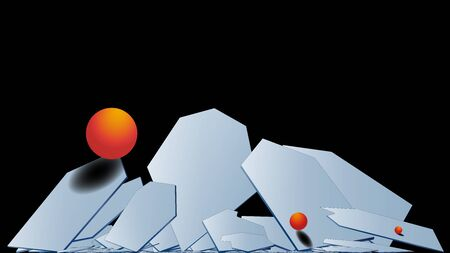 Stylish modern 3D polygonal background of falling hexagons with a metal surface and orange volumetric balls. Light plane in hexagons. Multilayer composition. Copy space. Vector.