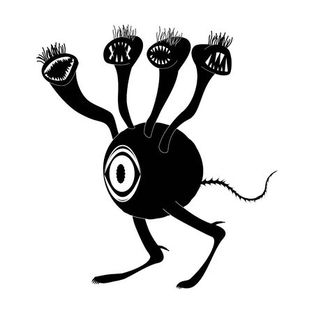 A concept of an alien creature with one big eye and many toothy heads. Critter walks on two legs. Silhouette image. Isolated vector on a white background.