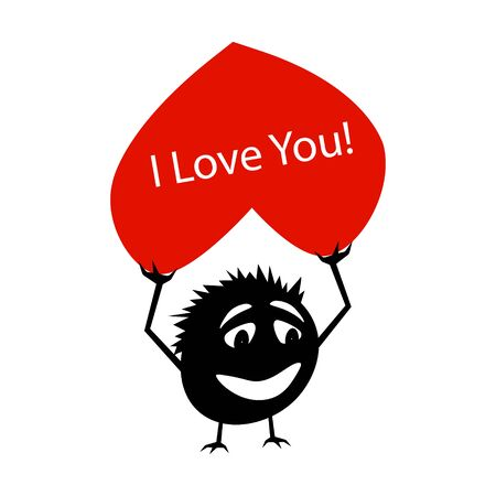 Silhouette of a funny little creature with a red heart in his hands above his head. On the heart of the text I love you. Critter for Valentine's Day. Isolated vector on a white background.