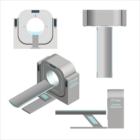 Set of 3D computer tomograph in different projections Isolated on a white background. Magnetic resonance imaging. Examination and diagnosis of cancerous tumors and brain damage. Vector.