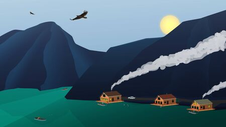 Landscape relaxation on a mountain lake with houses and high mountains. Eagles fly in the sky. The sun sets over the mountains. A fisherman in a boat is fishing. People are swimming. Horizontal vector