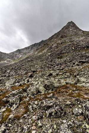 A high mountain with a peak strewn with large moss-covered stones. Cloudy weather. Vertical.