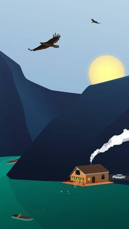 Landscape rest on a mountain lake with a house and high mountains. The sun sets over the mountains. Eagles fly in the sky. A fisherman in a boat is fishing. People are swimming. Vertical vector