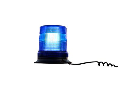 Working blue flasher isolated on white background. Blue police lamp. From the flasher stretches the wire.