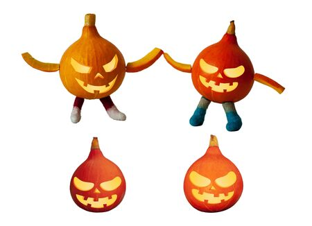 Little pumpkins with halloween face isolated on white background.  Funny holiday little men. Stockfoto