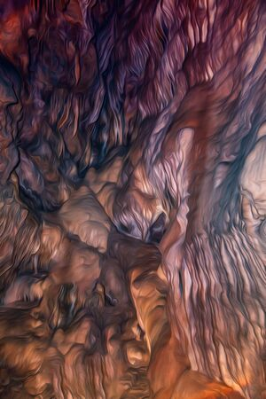Colorful cave texture in digital processing as an oil painting. Lines with smooth outlines. Red with brown colors. Flowing shapes. Imagens