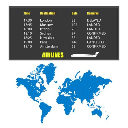 Information board with flight schedule and filled world map isolated on white. World map in blue. On the scoreboard text and plane. Vector EPS10.