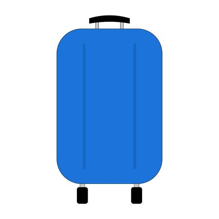 Travel suitcase on wheels isolated on white. Blue plastic modern travel suitcase. Handle for transportation. Vector EPS10.