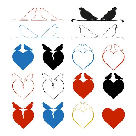 Set of hearts with pigeons sitting on them. The concept of a broken heart and strong love. Multi-colored silhouettes of hearts. Vector