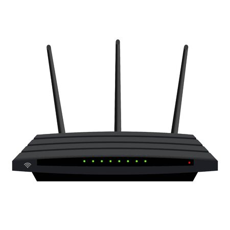 Realistic WiFi router with three antennas isolated on white. Green LEDs on the black case. Device for wireless distribution of the Internet. Vector