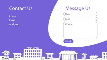 Contact screen concept for website with cartoon city silhouette. Form of sending messages. Vector blue templates for website design. UI, UX, GUI. Illusztráció