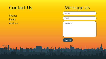 Contact screen concept for website with beautiful city silhouette at sunset. Form of sending messages. Vector templates for website design. UI, UX, GUI. EPS 10. Illusztráció