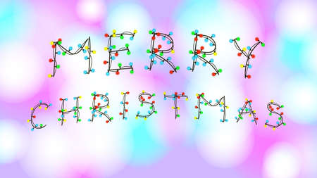 Congratulation Merry Christmas in garland font on blurry colorful background. Bright greeting card with text. Vector EPS 10.