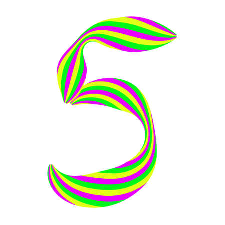 Number 5 made from caramel candy isolated on white. Font made of curved colored stripes. Festive handwritten font for fun congratulatory text. Vector EPS 10.