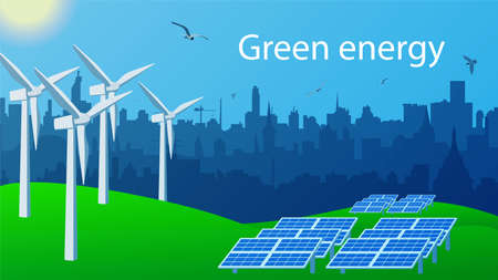 Green energy concept for environmental protection. Windmills and solar panels for generating electricity stand on the green grass. City skyline. Birds fly in the blue sky with the sun. Vector EPS 10.