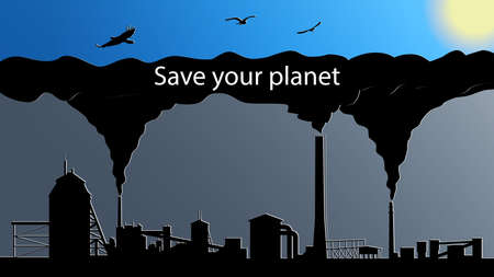 The concept of environmental pollution by plants. Smoky factory chimneys. Chimneys with black smoke close the blue sky with birds and the sun. Vector EPS 10.