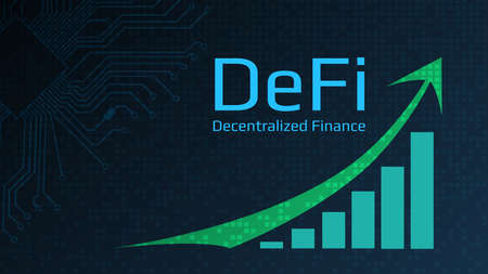 Defi - decentralized finance - text next to a green up arrow and a chart directed upwards. Dark blue background. Horizontal. Vector EPS10.