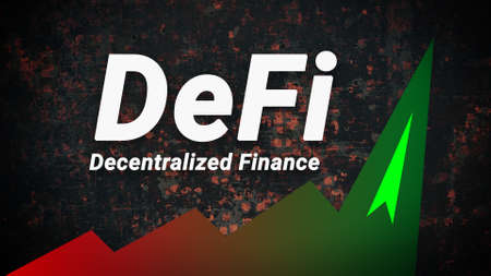 DeFi is a decentralized finance that is gaining popularity and hype. Green graph of the growth of the new finance sector. Defi Fintech concept. Horizontal.