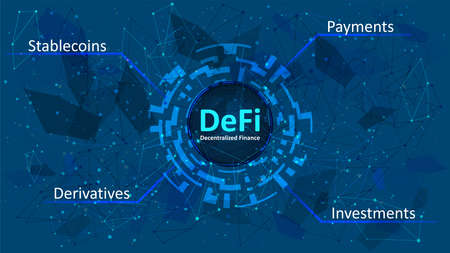 Defi - decentralized finance in a digital circle on dark blue abstract polygonal background. An ecosystem of financial applications and services based on public blockchains. Vector EPS 10.