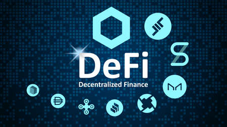 Defi - decentralized finance and alt coins in spiral. Logos of the main coins of the Defi sector on a blue background.
