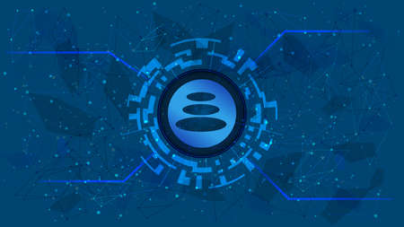 Balancer BAL token symbol of the DeFi project in a digital circle with a cryptocurrency theme on a blue background. Cryptocurrency icon. Decentralized finance programs. Copy space. Vector EPS10. Vektorové ilustrace