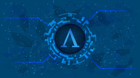 Ampleforth AMPL token symbol of the DeFi project in a digital circle with a cryptocurrency theme on a blue background. Cryptocurrency icon. Decentralized finance programs. Copy space. Vector EPS10.