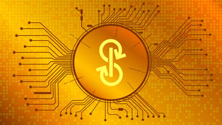 Yearn.finance YFI token symbol of the DeFi project in circle with PCB tracks on gold background. Cryptocurrency icon. Decentralized finance programs. Copy space. Vector EPS10.