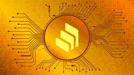 Compound COMP cryptocurrency token symbol of the DeFi project in circle with PCB tracks on gold background. Currency icon. Decentralized finance programs. Vector EPS10.