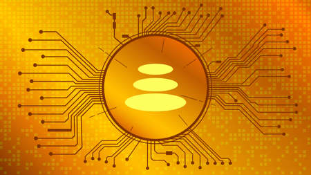 Balancer BAL cryptocurrency token symbol of the DeFi project in circle with PCB tracks on gold background. Currency icon. Decentralized finance programs. Vector EPS10.