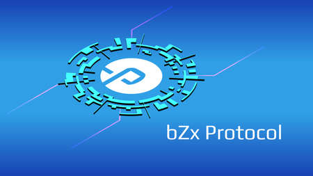 bZx Protocol BZRX isometric token symbol of the DeFi project in digital circle on blue background. Cryptocurrency icon. Decentralized finance programs.