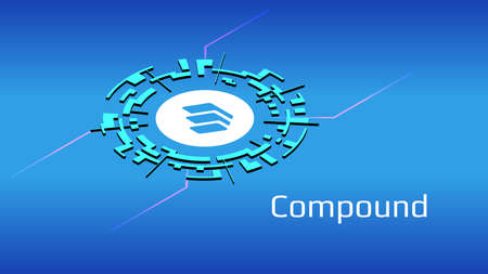 Compound COMP isometric token symbol of the DeFi project in digital circle on blue background. Cryptocurrency icon. Decentralized finance programs.