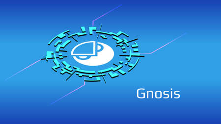 Gnosis GNO isometric token symbol of the DeFi project in digital circle on blue background. Cryptocurrency icon. Decentralized finance programs.