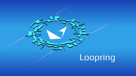 Loopring LRC isometric token symbol of the DeFi project in digital circle on blue background. Cryptocurrency icon. Decentralized finance programs.