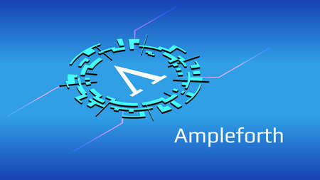 Ampleforth AMPL isometric token symbol of the DeFi project in digital circle on blue background. Cryptocurrency icon. Decentralized finance programs.