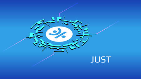 JUST JST isometric token symbol of the DeFi project in digital circle on blue background. Cryptocurrency icon. Decentralized finance programs.