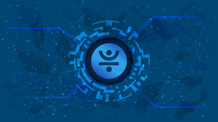 JUST JST token symbol of the DeFi project in a digital circle with a cryptocurrency theme on a blue background. Cryptocurrency icon. Decentralized finance programs.