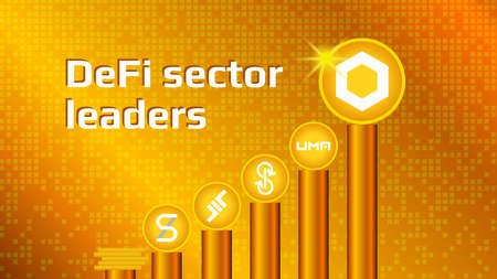 Cryptocurrency coins of DeFi sector on gold pedestals. DeFi altcoins ranked by volume.