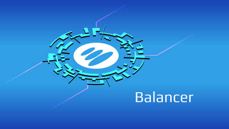 Balancer BAL isometric token symbol of the DeFi project in digital circle on blue background. Cryptocurrency icon. Decentralized finance programs.