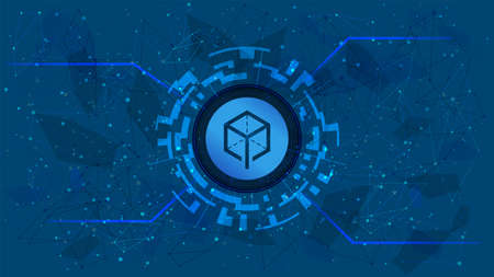 Melon MLN token symbol of the DeFi project in a digital circle with a cryptocurrency theme on a blue background. Cryptocurrency icon. Decentralized finance programs. Copy space. Vector.