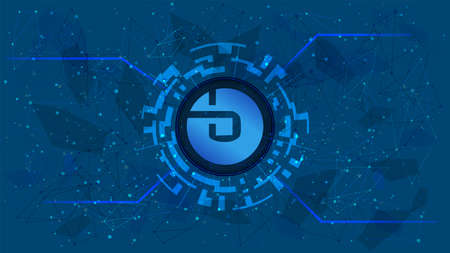 bZx Protocol BZRX token symbol of the DeFi project in a digital circle with a cryptocurrency theme on a blue background. Cryptocurrency icon. Decentralized finance programs. Copy space.