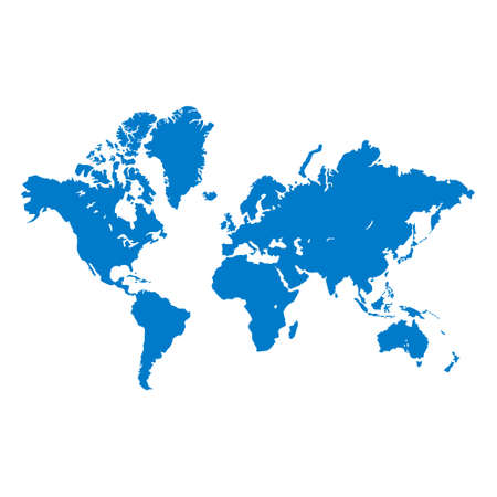 Detailed world map in blue isolated on a white background. All parts of the world with a detailed edge. Vector EPS10.