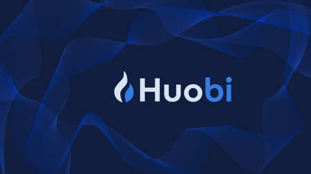 Huobi cryptocurrency stock market name on abstract digital background. Crypto stock exchange for news and media. Vector .