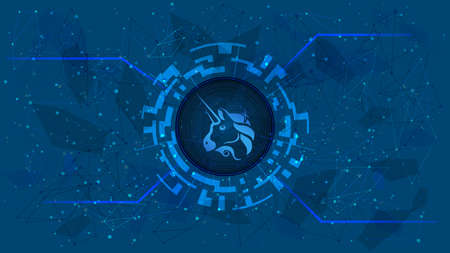 Uniswap UNI token symbol of the DeFi project in a digital circle with a cryptocurrency theme on a blue background. Cryptocurrency icon. Decentralized finance programs. Copy space. Vector .
