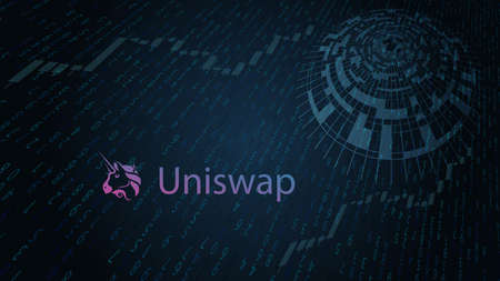 Uniswap cryptocurrency stock market name on abstract digital background. Crypto stock exchange for news and media. Vector . Иллюстрация