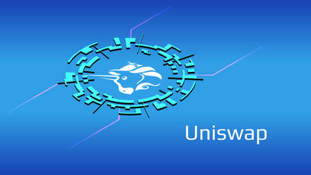 Uniswap UNI isometric token symbol of the DeFi project in digital circle on blue background. Cryptocurrency icon. Decentralized finance programs. Vector .