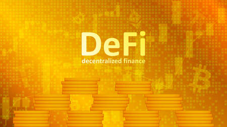 Defi decentralized finance with pyramid of coins on golden background with graphs. An ecosystem of financial applications and services based on public blockchains. Vector EPS 10.