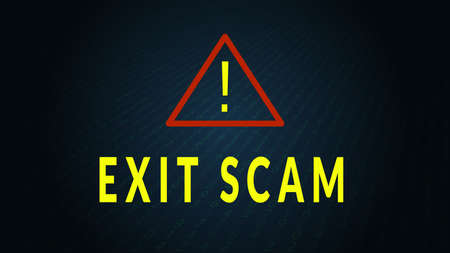 Exit scam text with warning sign. Fraudulent avoidance of financial obligations. Vector 10.