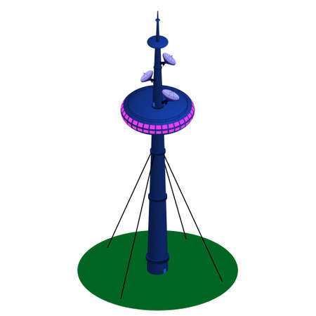 Isometric detailed television tower with satellite dishes and restaurant above isolated on white. Secured with cable ties. Vector EPS10.