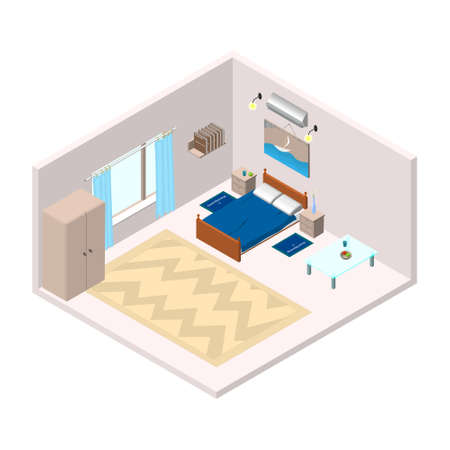 Isometric living room bedroom with furniture. Suitable for a hotel or residential building. Vector EPS10.